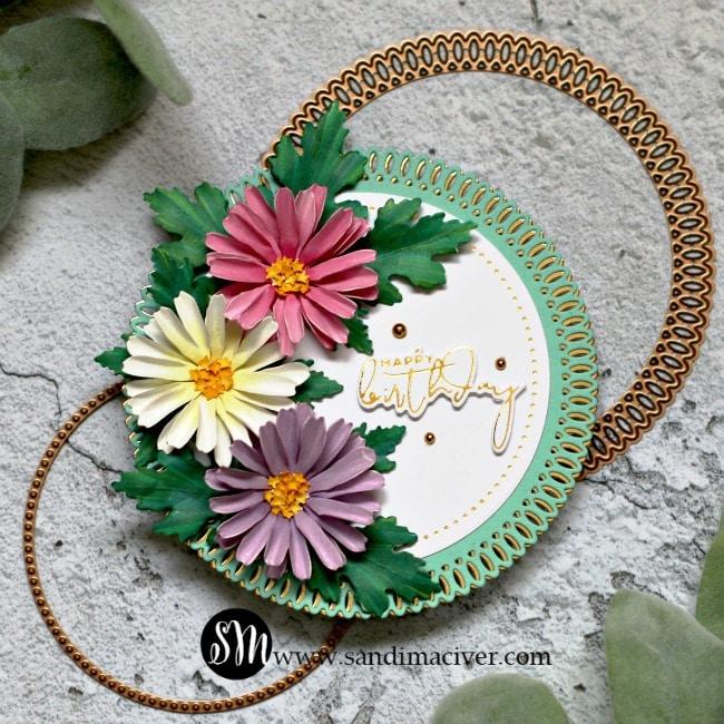 Spellbinders Susan Tierney Cockburn floral dies Daisy Chrysanthemum
