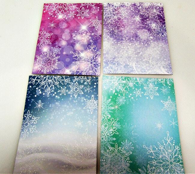Heat emboss Snowflakes for the Snowflake Season Shaker Cards