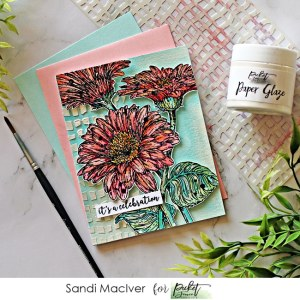 a hand made card created with Picket Fence Studios Wild Daisies stamp set along with a stenciled background and paper glaze