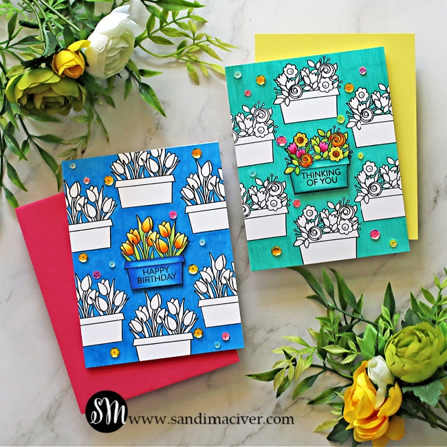 images of two hand made greeting cards created with the Simon Says Stamp Window Box blooms stamp set