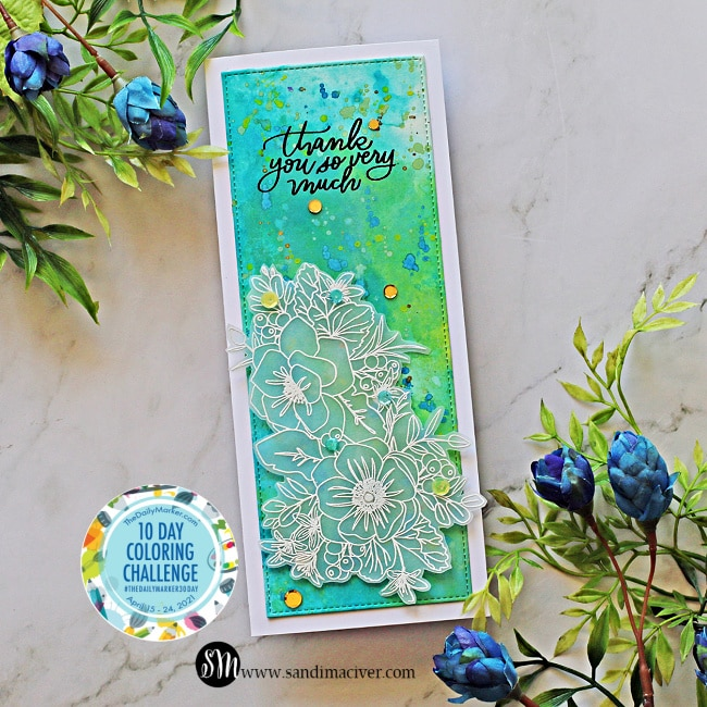 picture of a hand made card created with Distress Oxide Sprays Ink Smooshing and Friendly Flowers stamp set