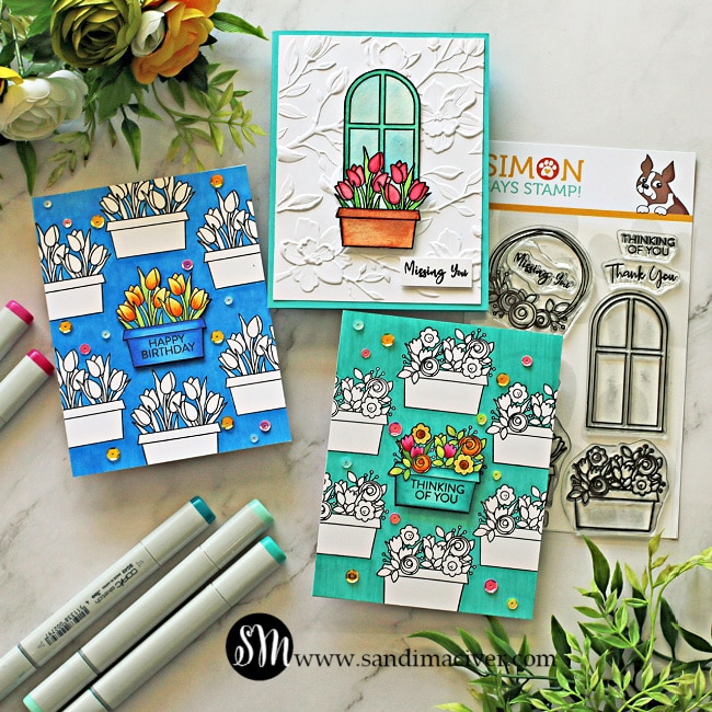 images of three hand made greeting cards created with the Simon Says Stamp Window Box blooms stamp set