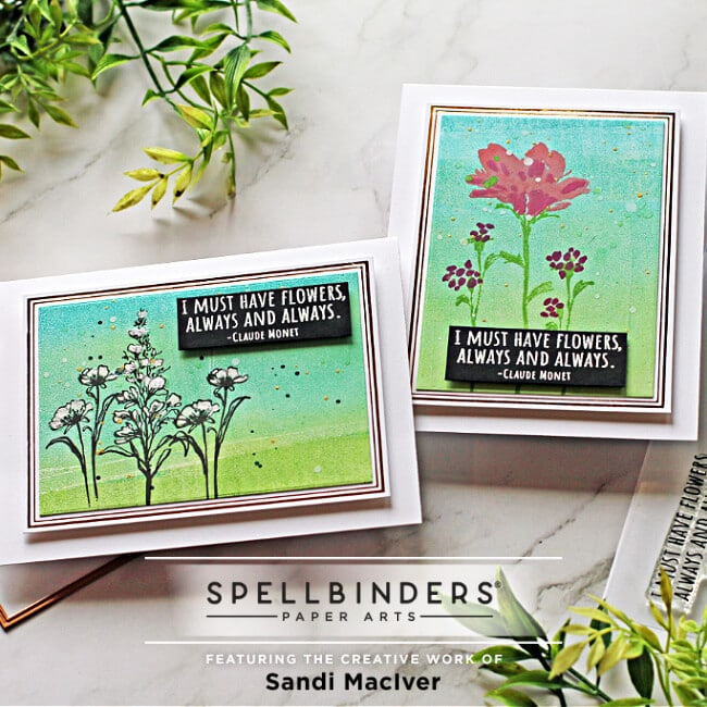 image of two cards created with the Spellbinders Floral Beauties stamp set