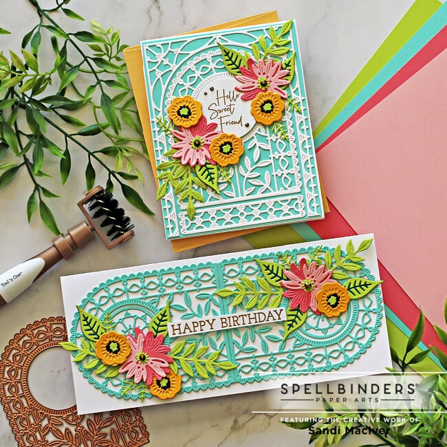 a slimline and A2 sized hand made cards created with the new May Arched A2 and Slimline Card Die of the month kit from Spellbinders paper crafts
