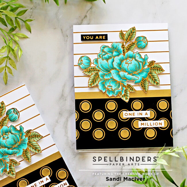 handmade greeting card created with the Spellbinders May Glimmer Hot Foil Kit of the month