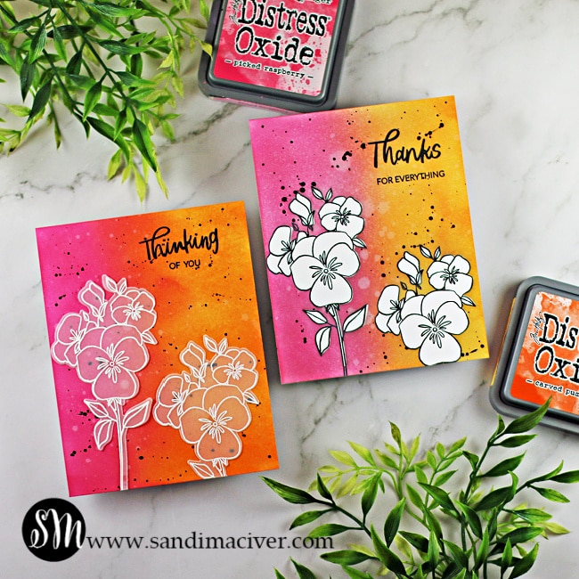hand made greeting cards cards using Tim Holtz Distress Oxide Inks and Ellen Hutson Pressing Thoughts stamp set