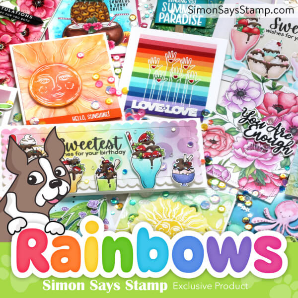 a rainbow of hand made greeting cards created with new card making products from Simon Says Stamp