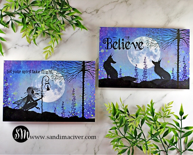 two handmade cards created with lavinia stamps and Lavinia SceneScapes