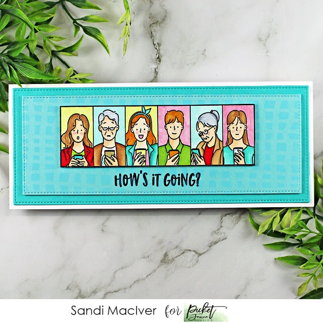 a handmade Slimline card created with the Picket Fence STudios Nice Seeing You Stamp Set