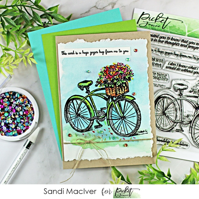 hand made water colored card created with new card making products from the Picket Fence Studios June Release
