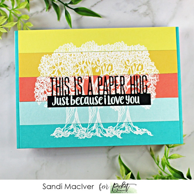 Picket Fence STudios June Release of Cardmaking products Listen for Joy and This is a Paper Hug Word Topper Die
