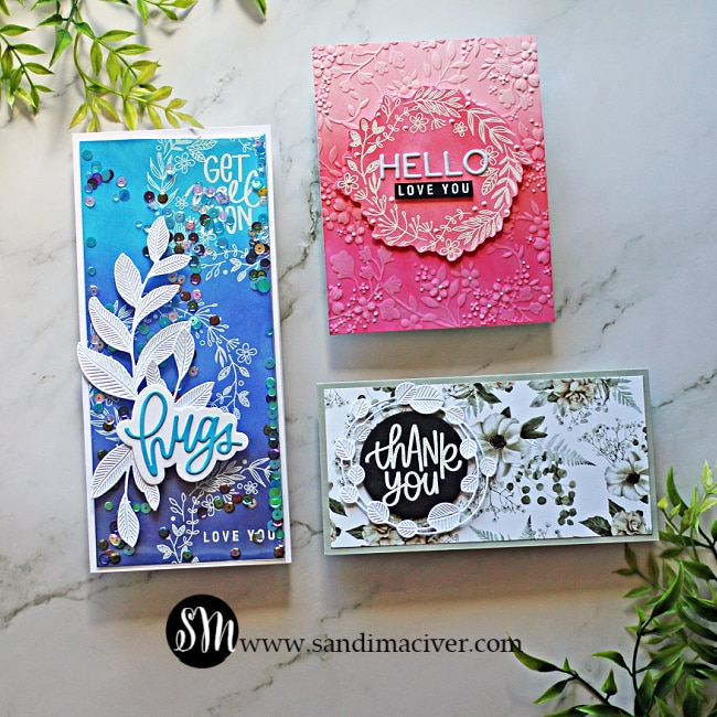 three hand made cards created with the new July card kit from Simon Says Stamp