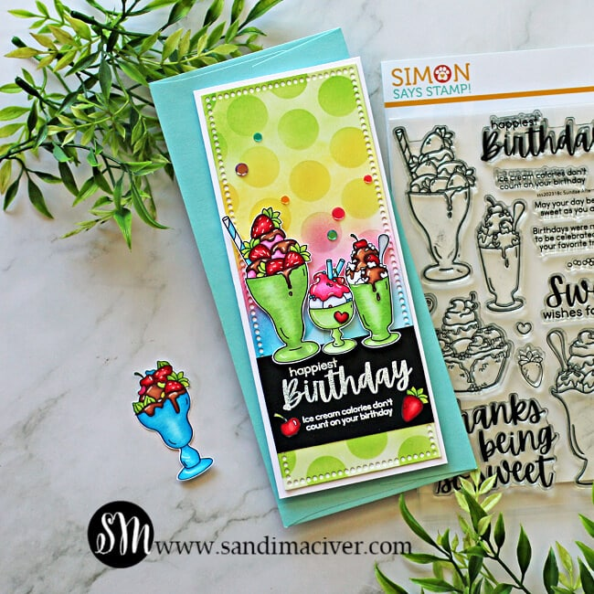 hand made slimline greeting card created with the Simon Says Stamp Sundae Afternoons stamp set
