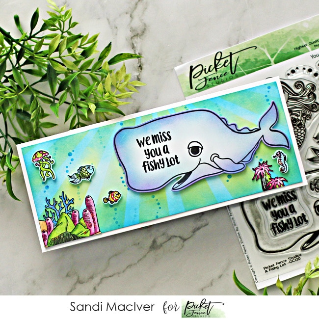 hand made slimline card with whales and fish from the Picket Fence STudios cardmaking products release
