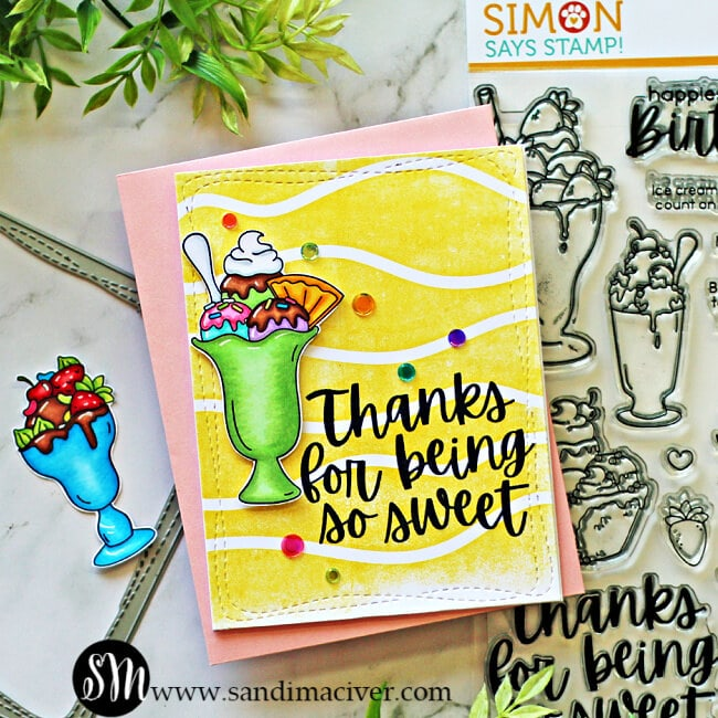 hand made greeting card with a ice cream Sundae on the front colored with Copic Markers