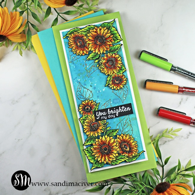 handmade slimline greeting card created with distress oxide sprays and sunshine and sunflowers stamp set from Tonic Studios