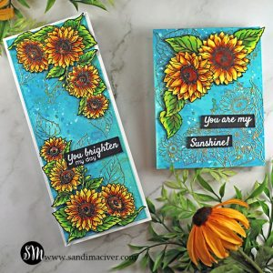 hand made slimline and A2 sized cards created with the Sunshine and Sunflowers stamp set from Tonic Studios
