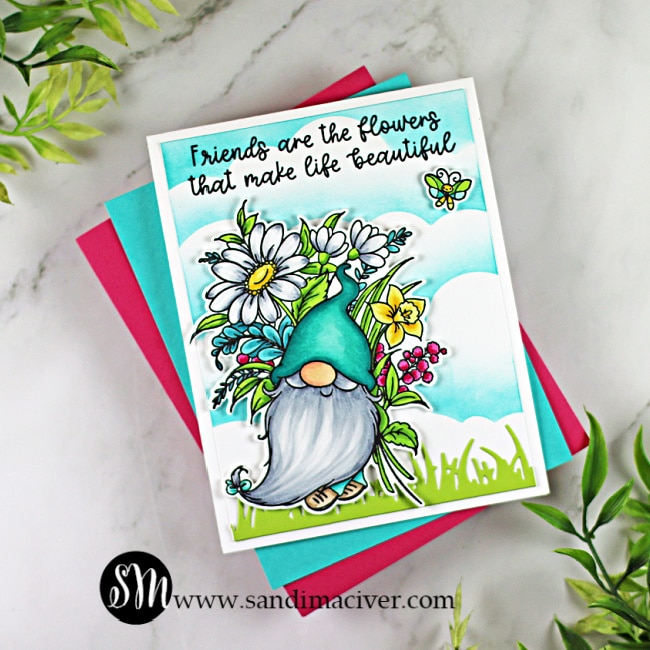 hand made greeting card with a little gnome and flowers using the Friends are Flowers stamp from Trinity Stamps