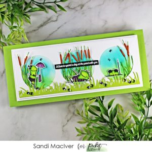 handmade slimline card with three little frogs in cat tails with products from Picket Fence Studios