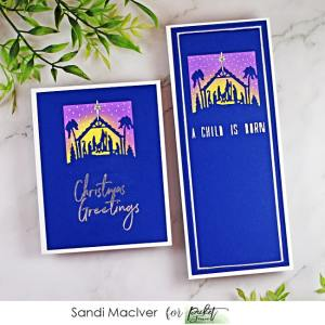 handmade slimline card with a Nativity Scene die cut into it