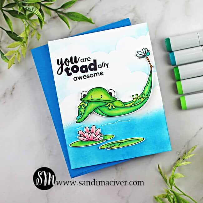 handmade greeting card with a frog floating in a leaf using cardmaking supplies from the Simon Says Stamp August 2021 card kit