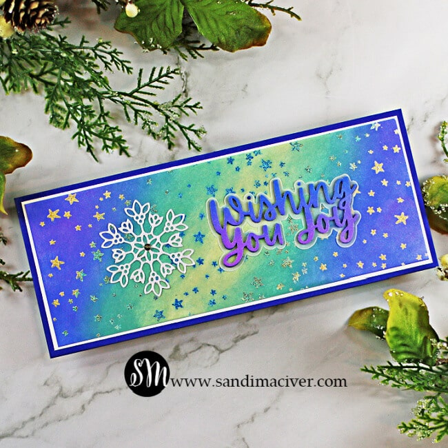 handmade slimline Christmas card created with new cardmaking products from Simon Says Stamp
