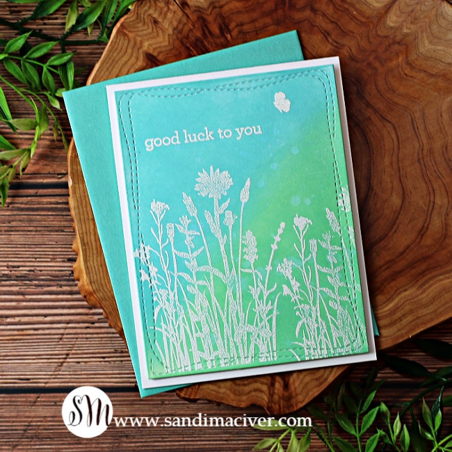 blue and green hand made greeting card with Distress Oxide Inks