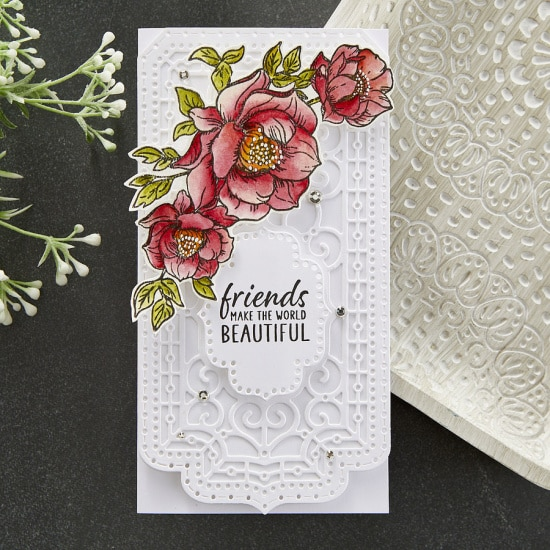 handmade mini slimline card with a colored floral overlay created with July club kits from Spellbinders
