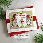 red and brown handmade christmas card with gnomes from the Holiday Gnomes stamp set from Spellbinders