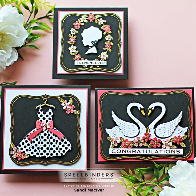 three handmade cards created with products from the Spellbinders Truly Yours Collection