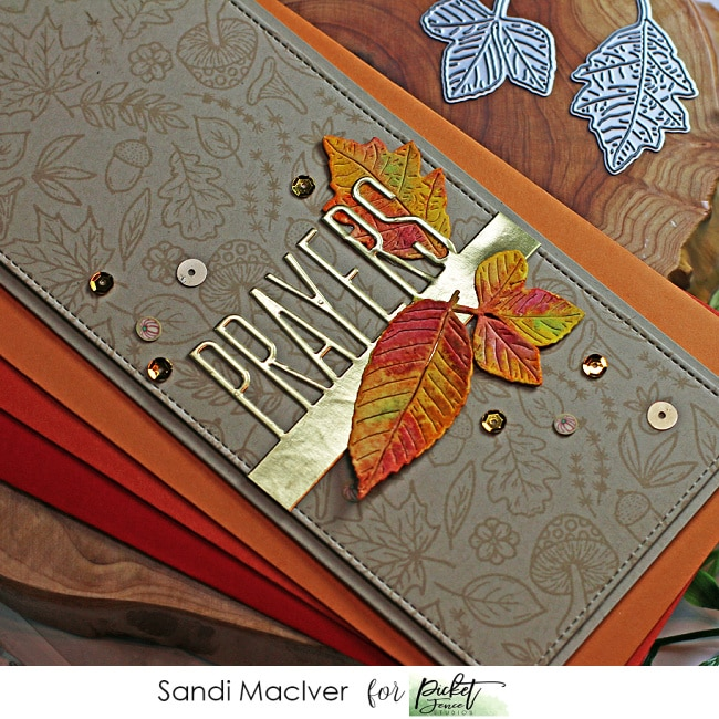 fall themed handmade slimline card with die cut overlays using products from Picket Fence STudios