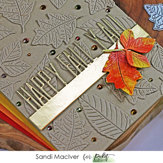 fall themed handmade card with die cut overlays using products from Picket Fence STudios