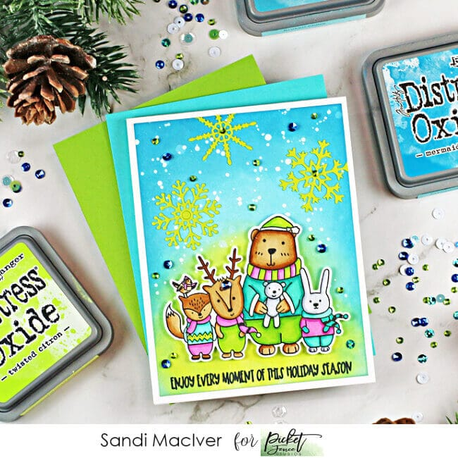 green and blue handmade christmas cards with snowflakes and forest critters using cardmaking products from Picket Fence Studios