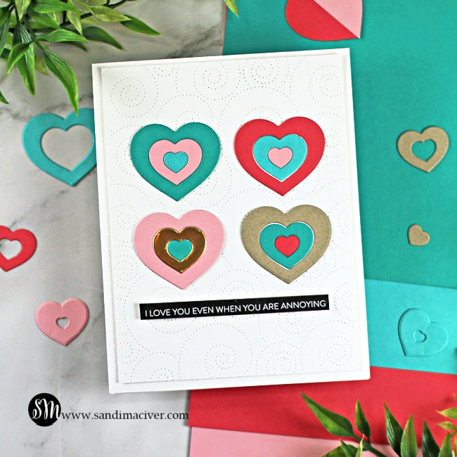 handmade greeting card covered in Geometric hearts created with new cardmaking products from Simon Says Stamp
