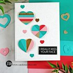 hand made greeting card covered in Geometric hearts using cardmaking products from Simon Says Stamp
