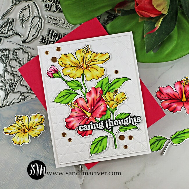 handmade card with copic colored Hibiscus flowers using cardmaking products from Simon Says Stamp