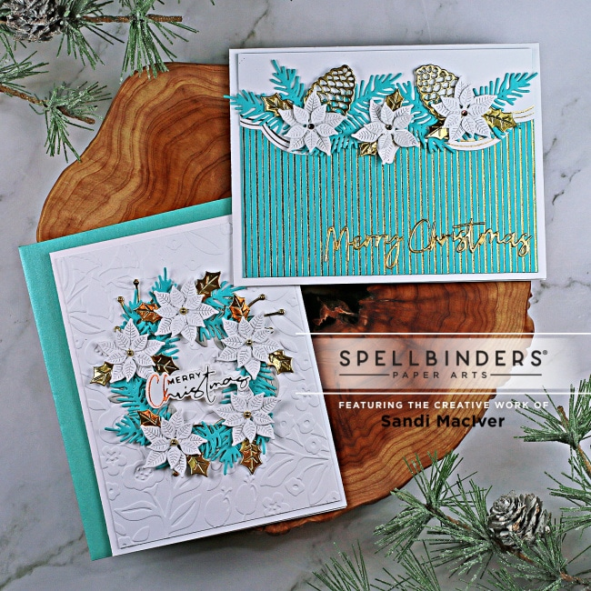 two handmade christmas cards using cardmaking and paper crafting products and dies from Spellbinders