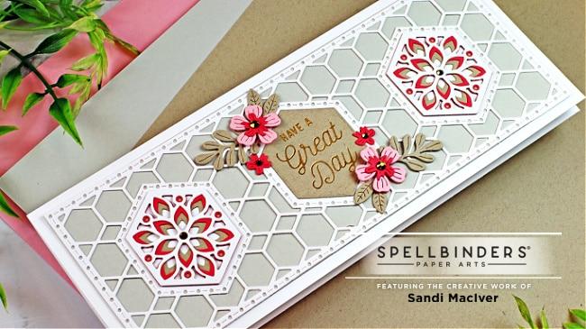 handmade slimline card with three kaleidoscope hexagons cut into it with cardmaking dies from Spellbinders