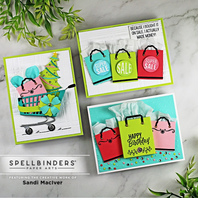 three hand made greeting cards with new paper crafting products from Spellbinders
