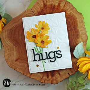 handmade white card with an embossed front and three yellow watercolored flowers using paper crafting products from SImon Says Stamp