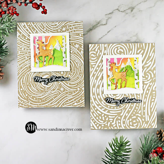 handmade christmas cards using Looking Glass Dies for paper crafting from Hero Arts