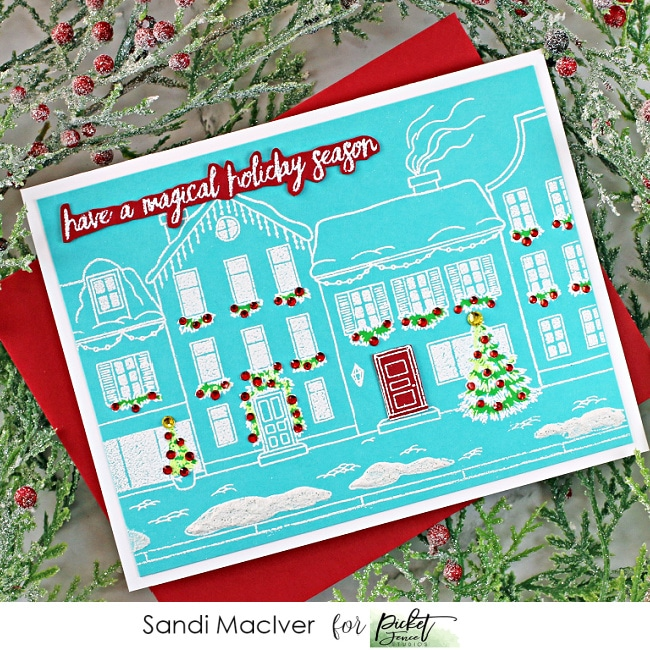 Winter comes to town stamp set for cardmaking and paper crafting from Picket Fence Studios