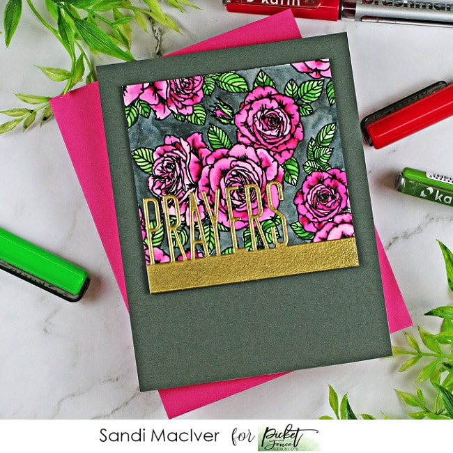 handmade greeting card with pink roses on a dark gray background created with paper crafting supplies from Picket Fence Studios
