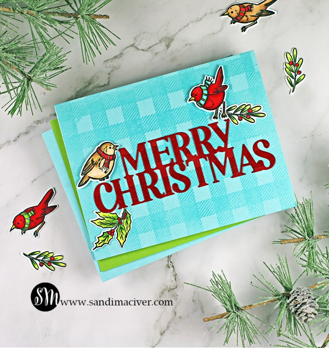 handmade christmas card created with stamps and dies for cardmaking from Hero Arts