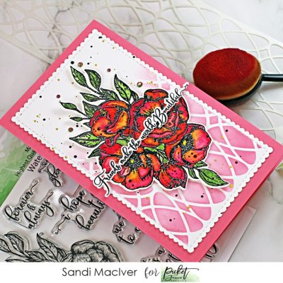 pink and white handmade mini slimline card created with new paper crafting products from Picket Fence Studios