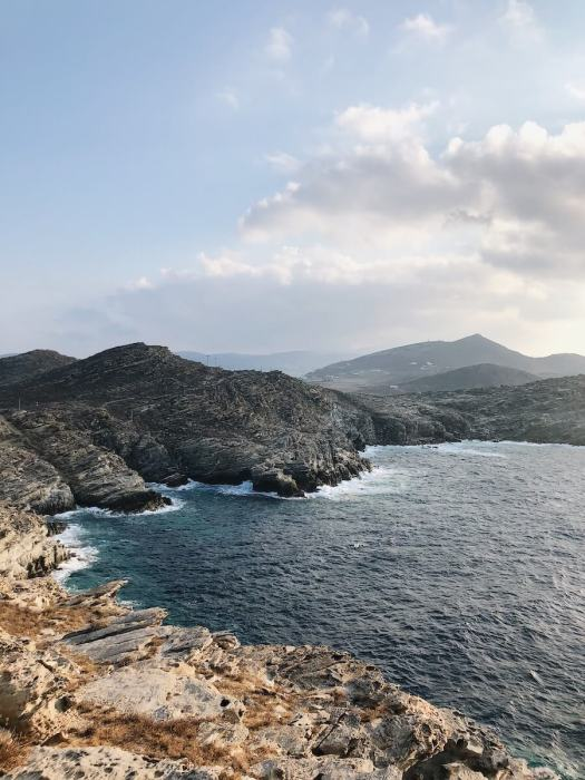 Paros landscape with mountain and water