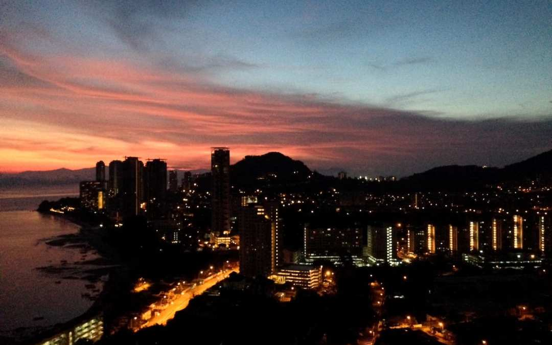 Rainbow colored skyline Penang