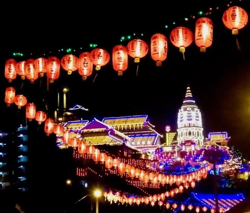 Kek Lok Si temple lit up at night, Penang