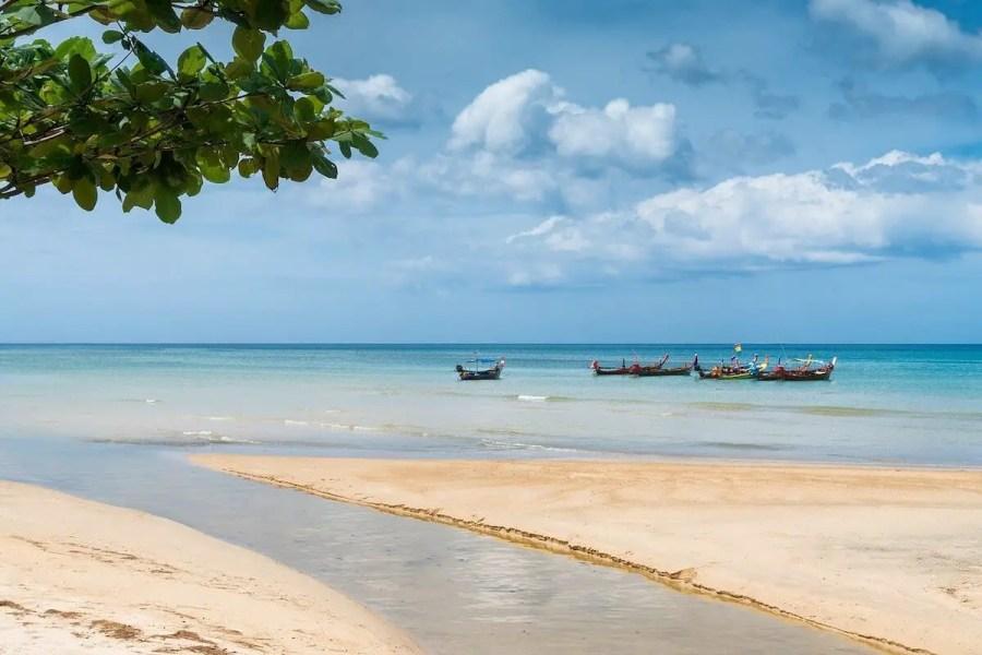 Phuket beach with boats