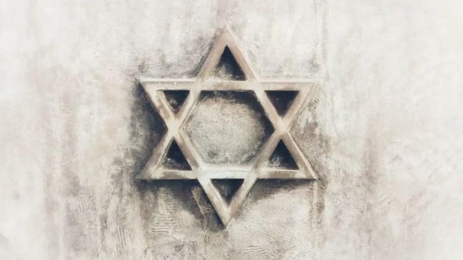 Jewish star engraved